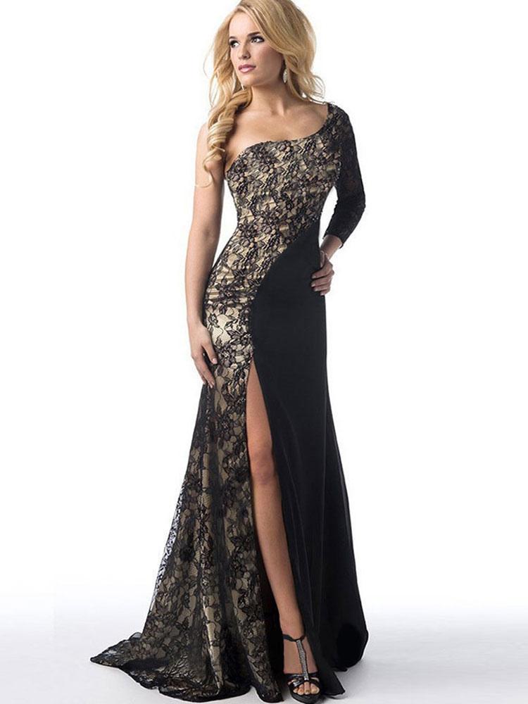 Black Maxi Dress One Shoulder Lace Patchwork Women's High Split Floor Length Long Dress Cheap clothes, free shipping worldwide
