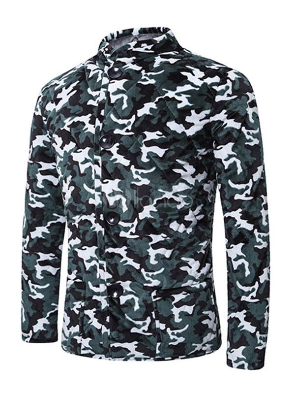manteau matelass camo hommes stand col manches longues avant bouton manteau d hiver. Black Bedroom Furniture Sets. Home Design Ideas