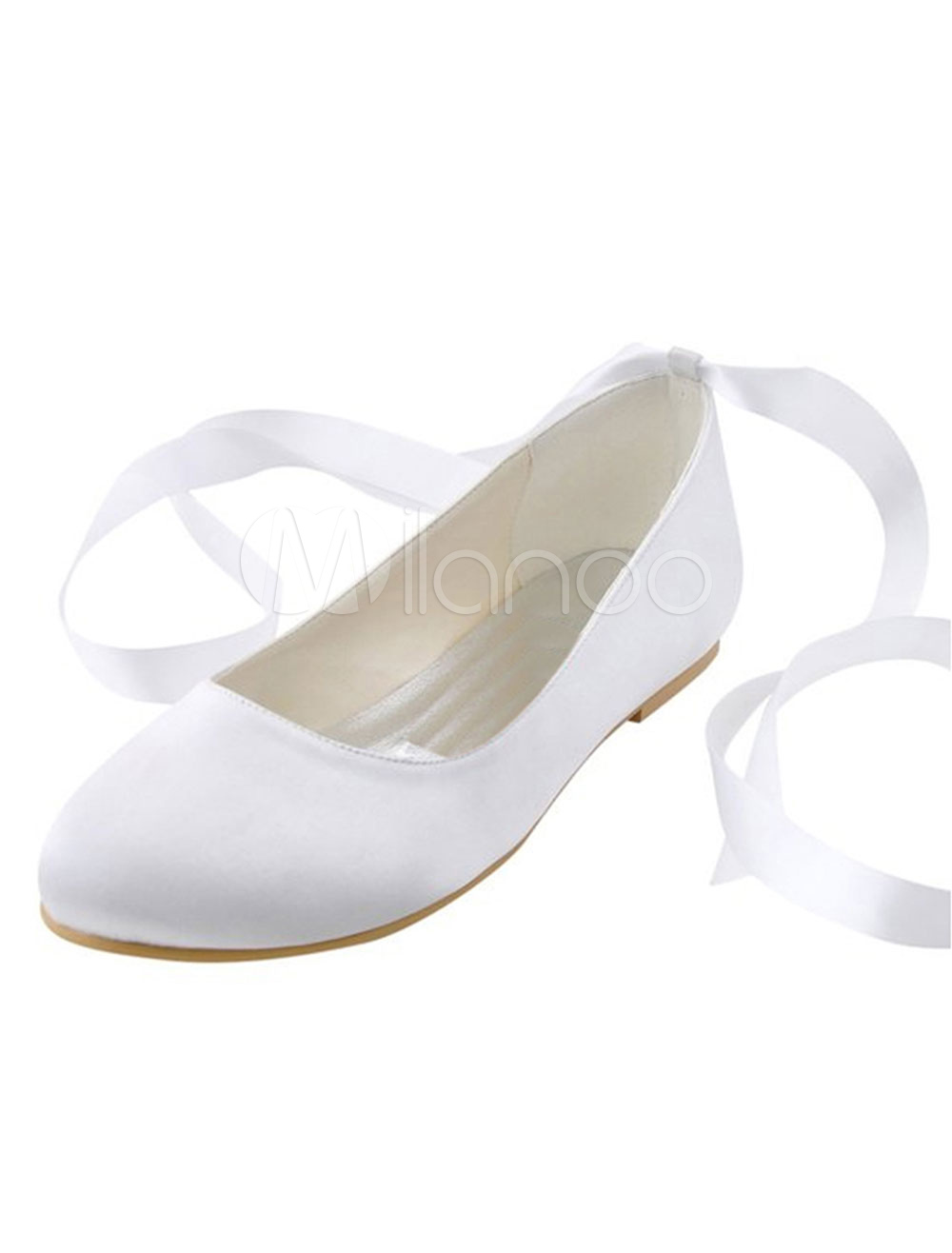 White Wedding Shoes Silk Round Toe Ribbons Lace Up Slip On Bridal Flat Pumps