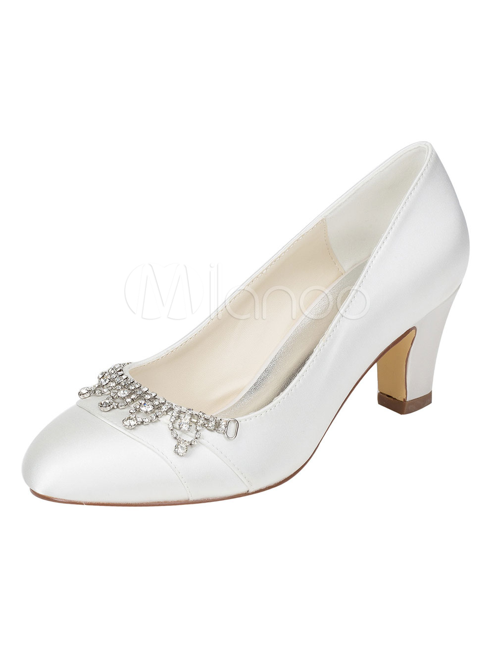 Ivory Bridal Shoes Silk Chunky Heel Rhinestone Round Toe Slip On Pumps For Wedding