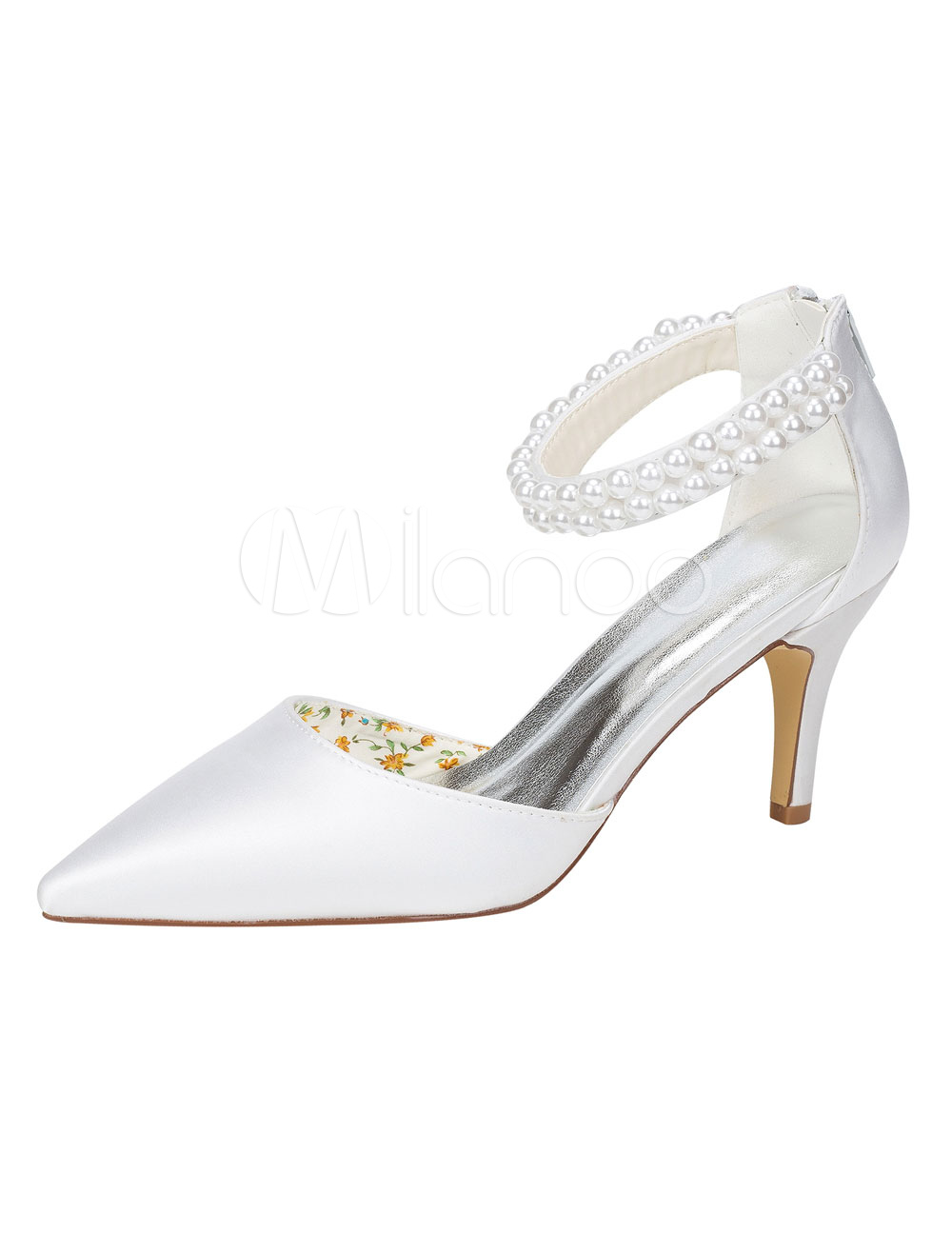 White Bridal Shoes Silk Stiletto Heel Pointed Toe Pearl Detail Ankle Strap Wedding Shoes