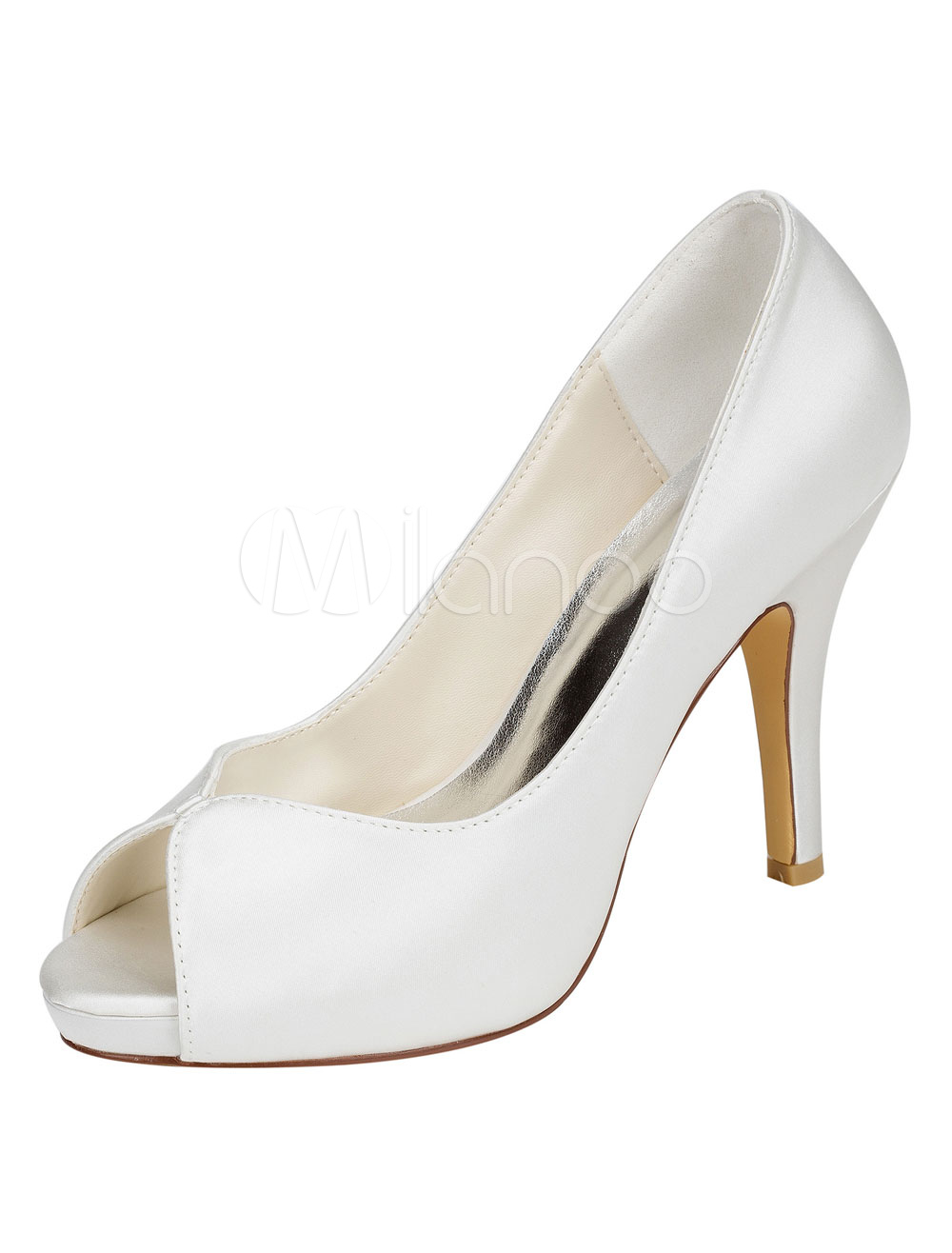 Buy Ivory Bridal Shoes Silk High Heel Platform Peep Toe Slip On Pumps For Wedding for $53.19 in Milanoo store