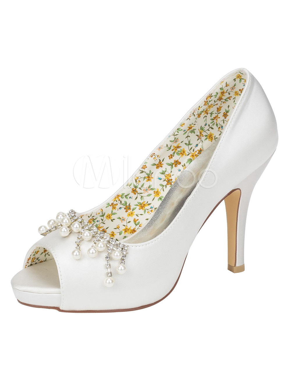 Buy Ivory Wedding Shoes Silk High Heel Pearl Rhinestone Peep Toe Slip On Bridal Pumps for $56.99 in Milanoo store