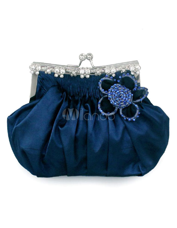 Buy Wedding Clutch Bag Blue Beaded Flower Kiss Lock Purse Ruched Bridal Evening Bags for $19.99 in Milanoo store