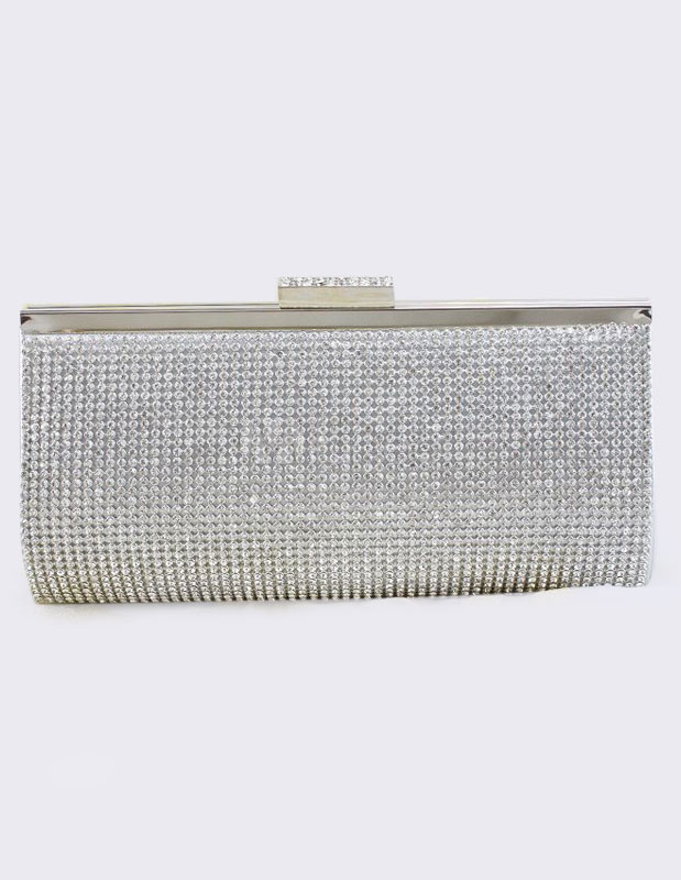 Wedding Clutch Bag Silver Rhinestones Beaded Purse Bridal Evening Bags