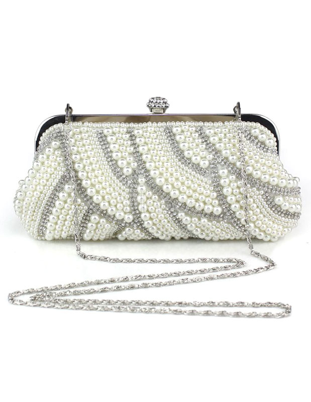Buy Evening Clutch Bag Pearls White Evening Bags Rhinestones Chain Strap Bridal Purse for $27.89 in Milanoo store