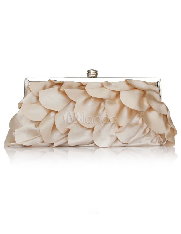 Buy Flower Wedding Handbags Satin Kiss Lock Closure Evening Handbag for $14.99 in Milanoo store