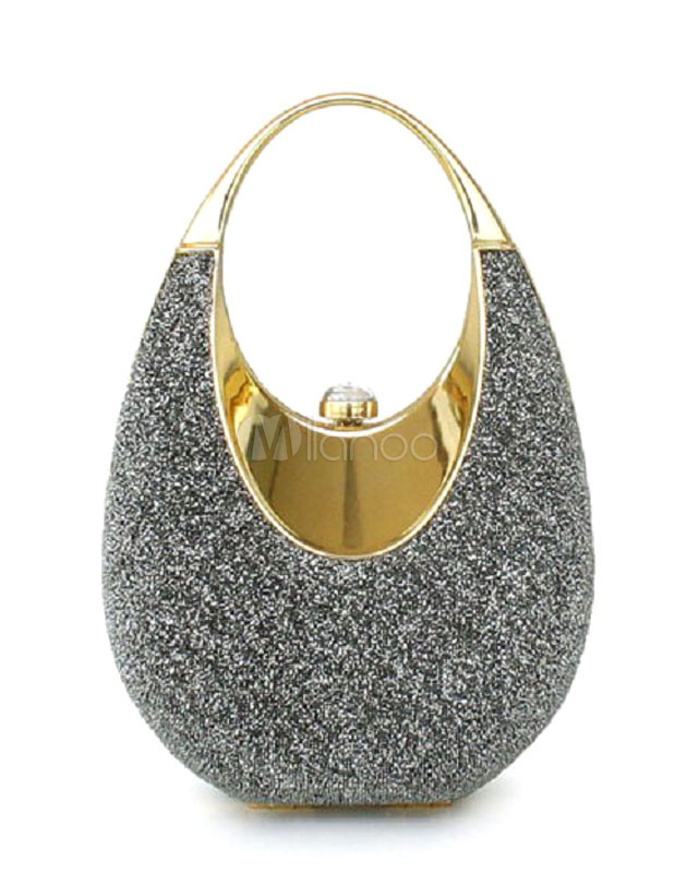 Sequin Wedding Bags Grey Chain Strap Bridal Evening Clutch Bag