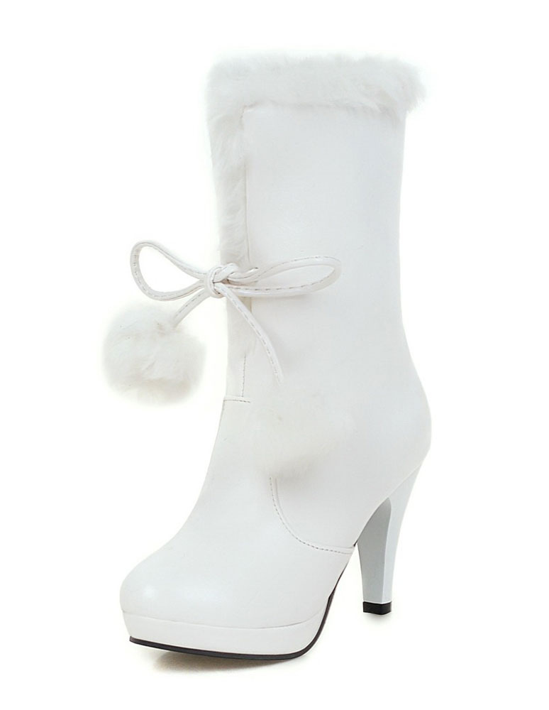 White Winter Boots Fur Top High Heel Boots Women's Lace Up Platform Boots With Pom Poms