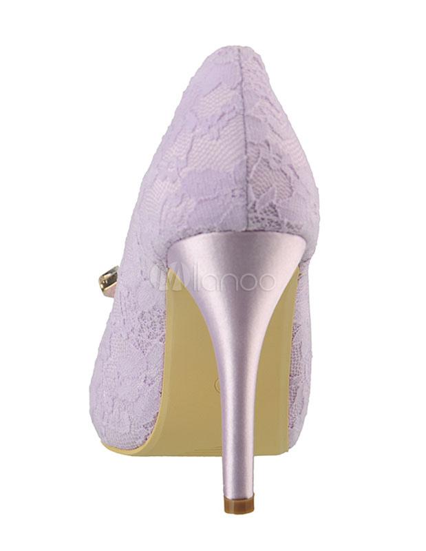 presa all'ingrosso negozi popolari lussureggiante nel design Sposa scarpe Lilla tacco alto Peep Toe strass perline Slip On pompe nuziali