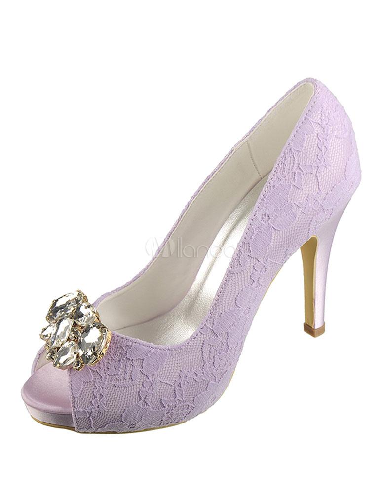 zapatos de encaje de color lila color liso con cristal - milanoo