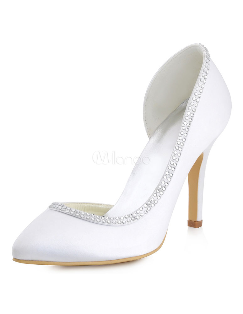 Buy Ivory Wedding Shoes Satin Stiletto Heel Pointed Toe Rhinestones Beaded Slip On Bridal Pumps for $47.49 in Milanoo store