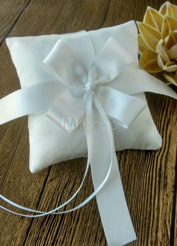 Buy Ring Bearer Pillow Ivory Ribbons Cross Knot Satin Wedding Pillow for $4.99 in Milanoo store