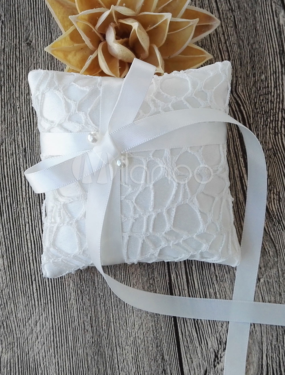 Buy Ring Bearer Pillow Lace Ivory Ribbon Bow Beaded Wedding Pillow for $4.99 in Milanoo store