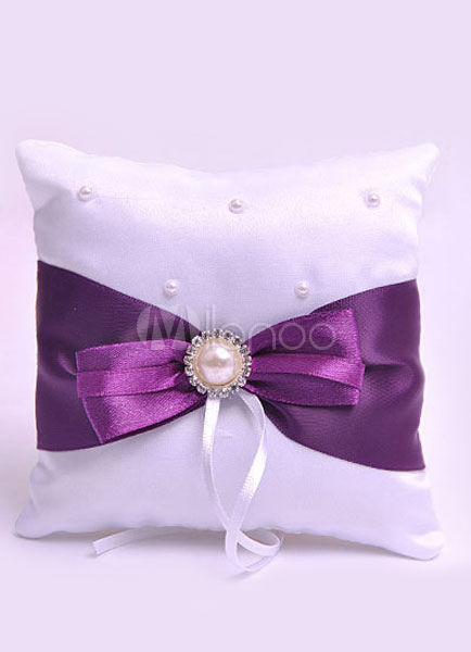Buy Ring Bearer Pillows Pearls Beaded Bow Purple Sash Satin Wedding Pillow for $4.99 in Milanoo store