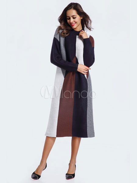 cf48344f7923 Maglione vestito elegante girocollo manica lunga cotone invernale Abito  donna-No.1 ...