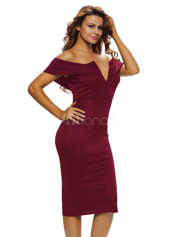 Buy Burgundy Bodycon Dress Off The Shoulder Short Sleeve Backless Slim Fit Sheath Dress for $18.69 in Milanoo store