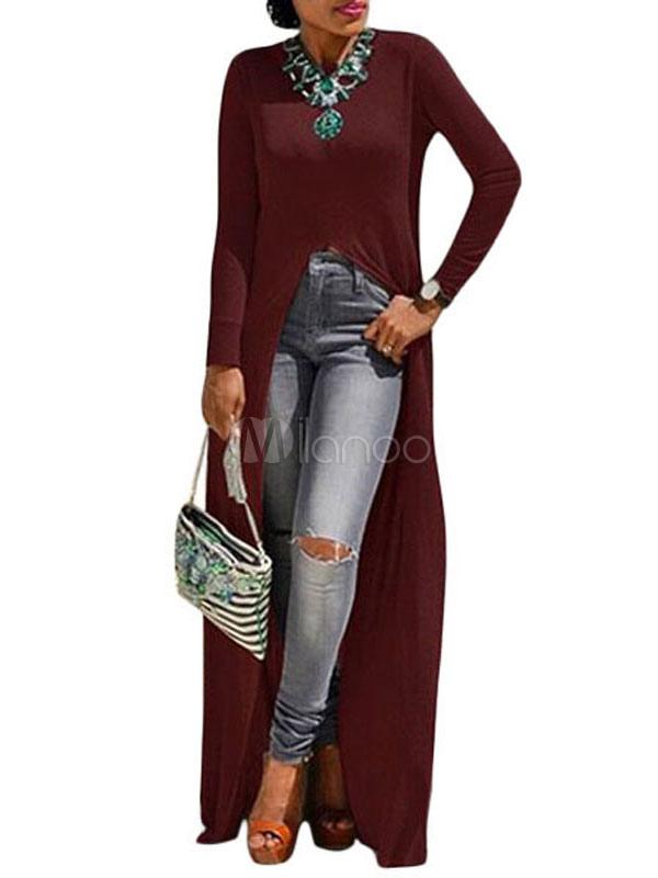 Buy Long Sleeve T Shirt Burgundy Round Neck Long T Shirt For Women for $17.99 in Milanoo store