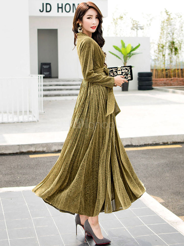 8090b81b33 Glitter Maxi Dress Long Sleeve Pleated Women's V Neck Elegant Long Wrap ...