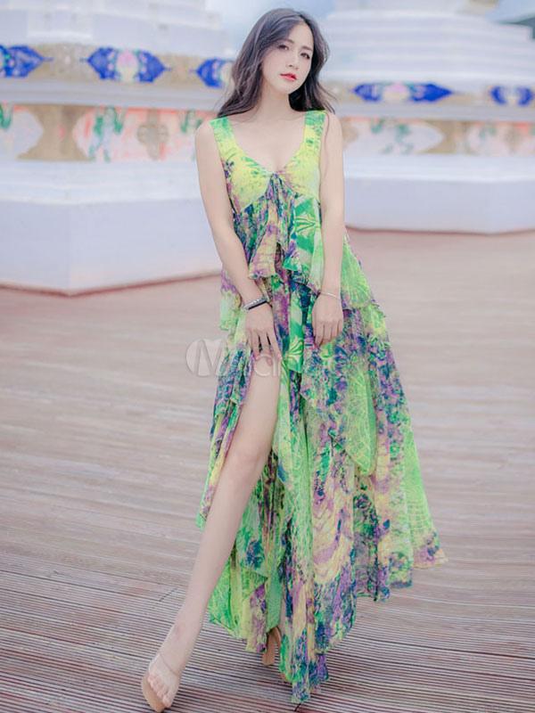 Boho Chiffon Dress Maxi High Low Women's Floral Print V Neck Ruffle Tiered Long Beach Dresses