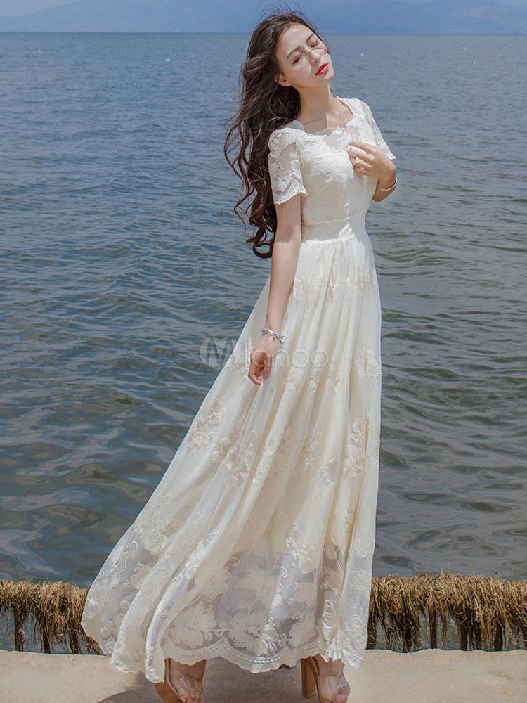 the latest e6883 f135e Floreale a più livelli abito lungo pizzo bianco abito Maxi manica corta  donna