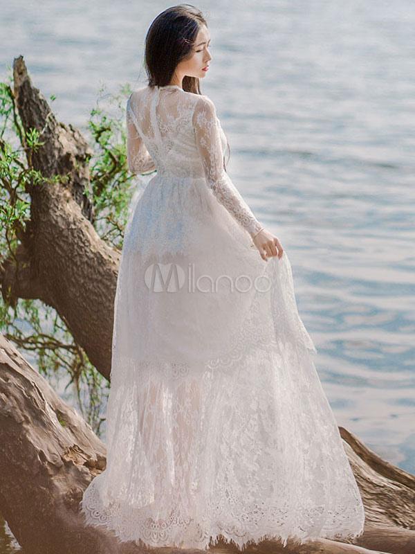 Robe dentelle blanche robe maxi illusion tour de cou for Robe maxi blanche mariage