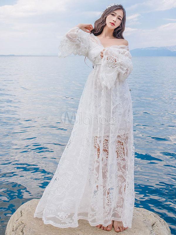While Lace Maxi Dress Long Sleeve Women s Off Shoulder High Waist Semi  Sheer Long Dress- ... a61e63149c