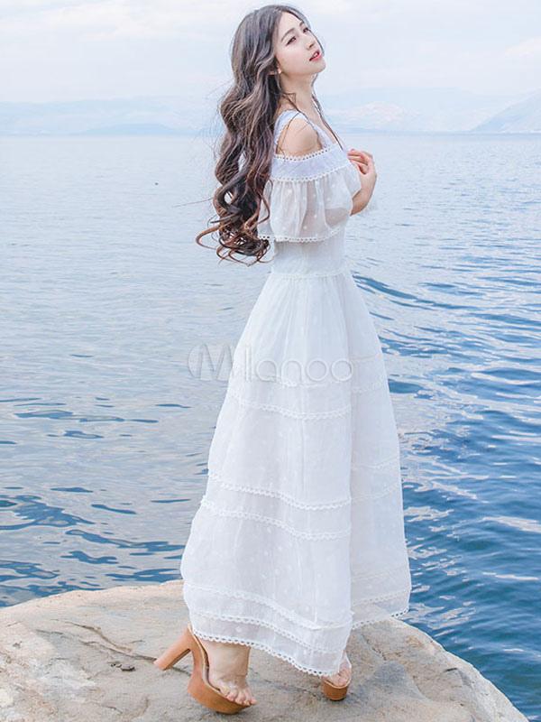 8dd3cd183ad2 Vestido largo de encaje blanco con escote cuadrado Color liso con volante  fruncido con manga corta estilo de playa