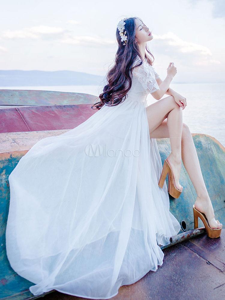 Buy White Long Dress Lace Flower Applique Women's V Neck Short Sleeve Split Semi Sheer Maxi Dress for $62.99 in Milanoo store