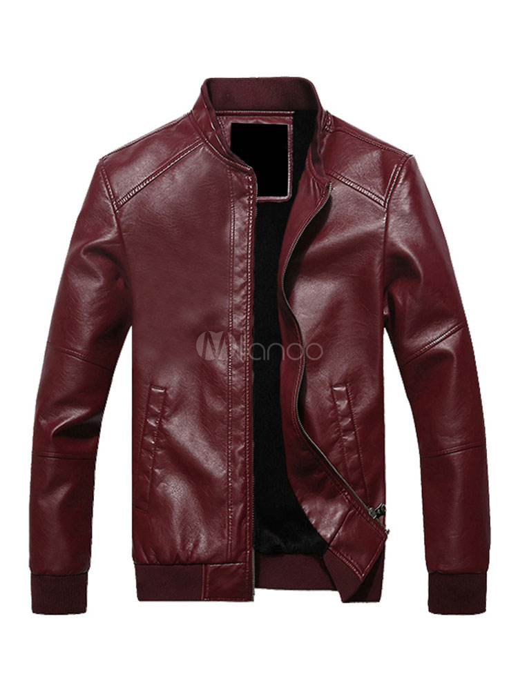 Men's Windbreaker Jacket Zipper Up Lined Pocket PU Leather Fashion Jacket