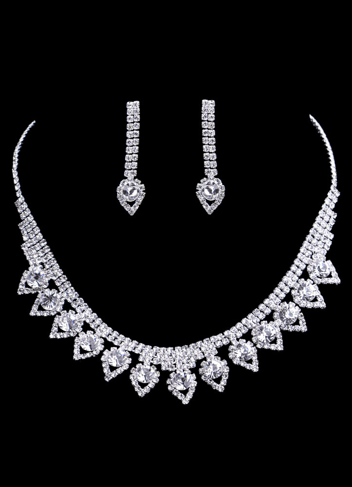 Wedding Jewelry Sets Silver Vintage Bridal Heart Shaped Necklace Set With Drop Earrings