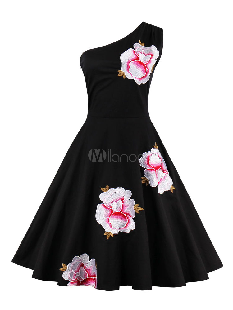 Black Vintage Dress Women's One Shoulder Sleeveless Floral Embroidered Pleated Skater Dress Cheap clothes, free shipping worldwide