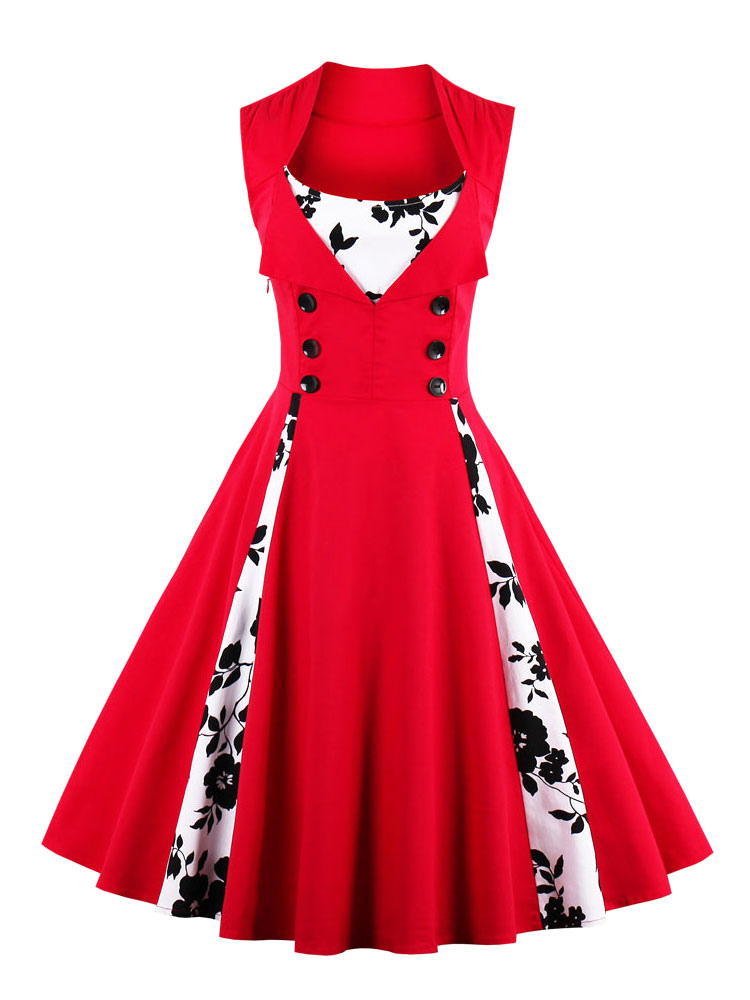 Red Vintage Dress Square Neckline Sleeveless Floral Printed Pleated Skater Dress With Buttons