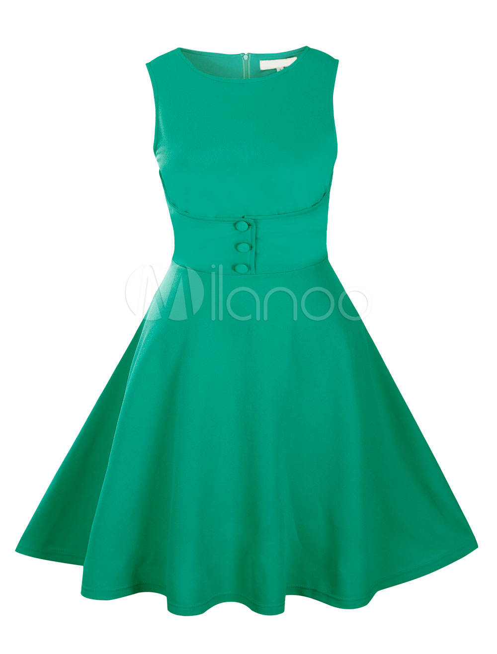 Green Vintage Dress Women's Sleeveless Buttons Deco Flare Retro Dress