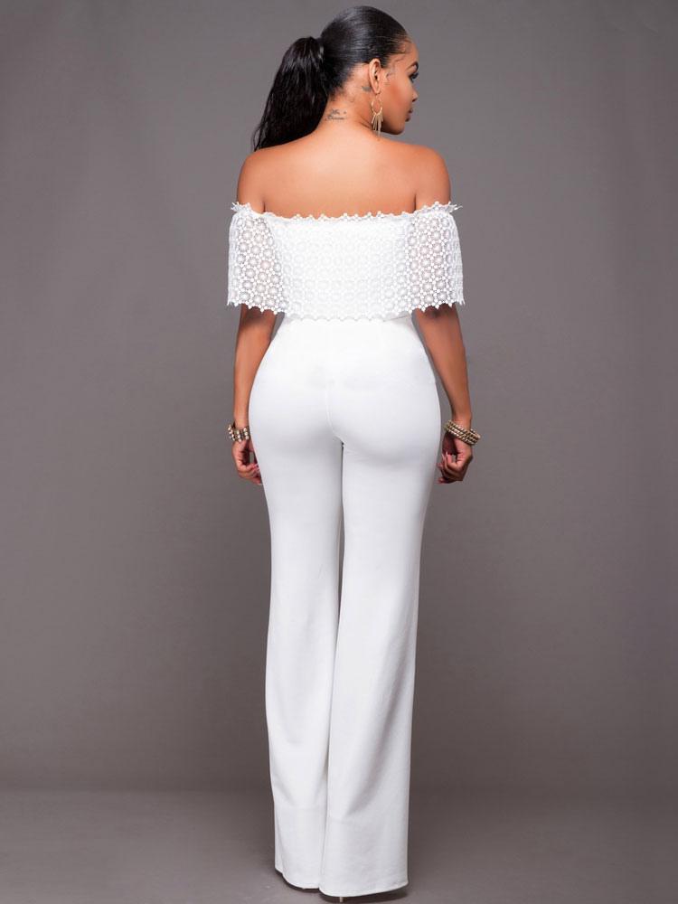 Long White Jumpsuit Women S Off The Shoulder Dressy