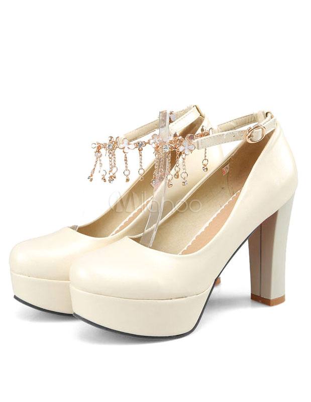 d18173631e82 Beige High Heels Ankle Strap Platforms Chunky Heel Chain Fringe Pumps Shoes  For Women-No ...