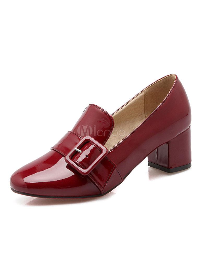 Zapatos de tacón medio Charol PU Color liso estilo moderno koXCnwI
