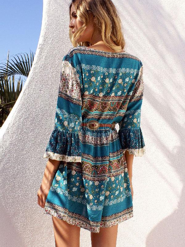 Milanoo / Boho Blue Dress Floral Print Women's Lace Up Bell Sleeve Ruffle Short Skater Dress