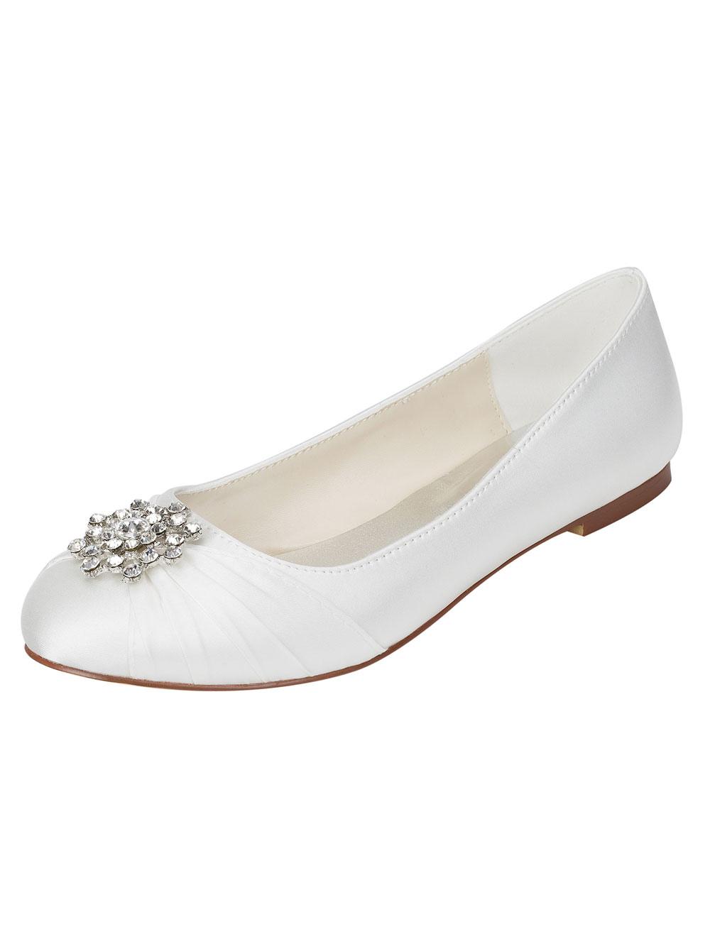 Ivory Wedding Shoes Silk Rhinestone Pleated Round Toe Slip On Bridal Flat Pumps