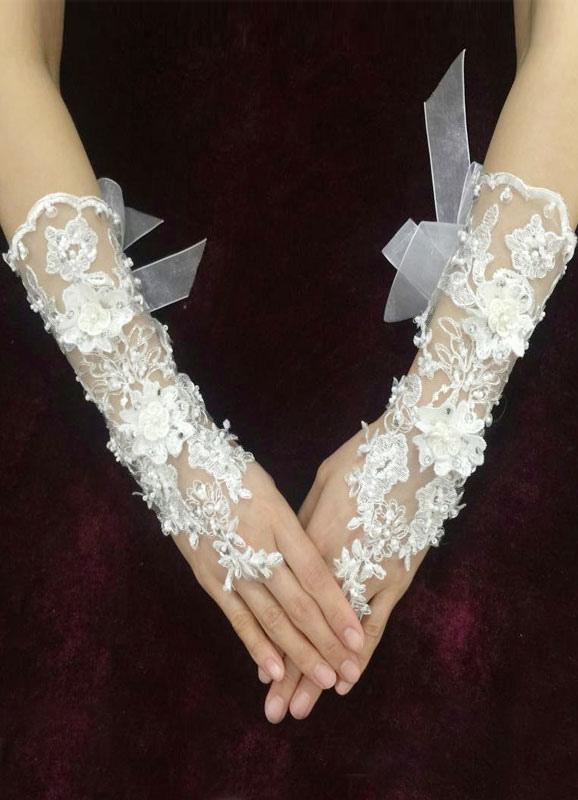 25686d3c4365 Bianco da sposa guanti senza dita pizzo perline fiocco di nastro di Organza  fiore 3D metà