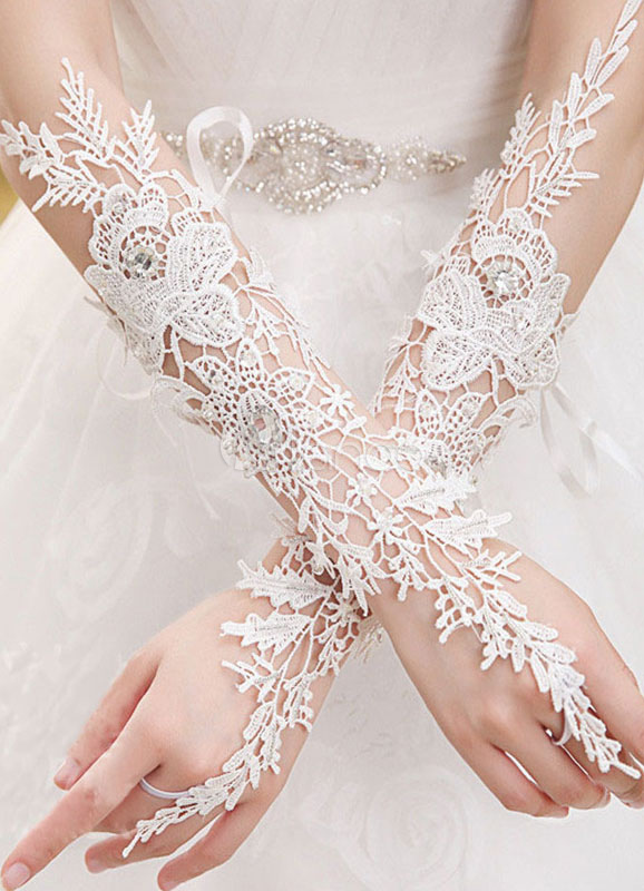 White Wedding Gloves Lace Fingerless Flower Beaded Hallow Out Elbow Length Bridal Gloves With Organza Ribbon