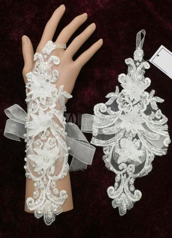 772184715dcb Matrimonio pizzo guanti senza dita bianco 3D fiori Organza perline fiocco  metà lunghezza guanti da sposa ...