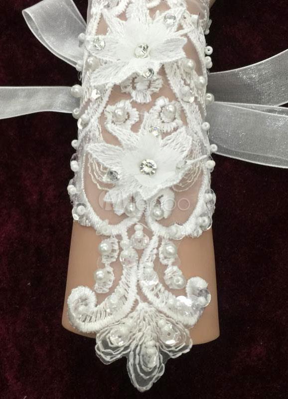 ac54fdf090da ... Matrimonio pizzo guanti senza dita bianco 3D fiori Organza perline  fiocco metà lunghezza guanti da sposa ...