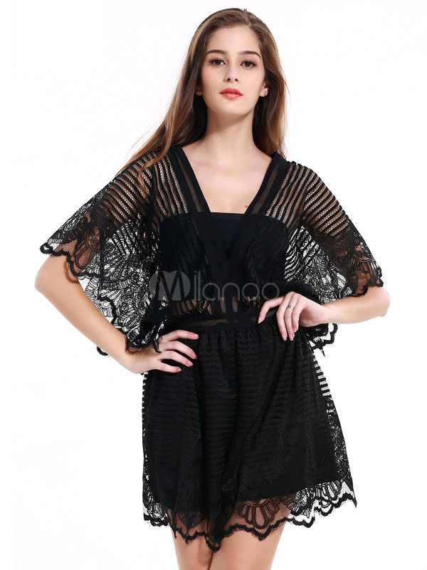 8fdb1a0aea63 Women s Black Romper Lace V Neck Batwing Short Sleeve Semi-Sheer Loose Leg  Jumpsuit- ...