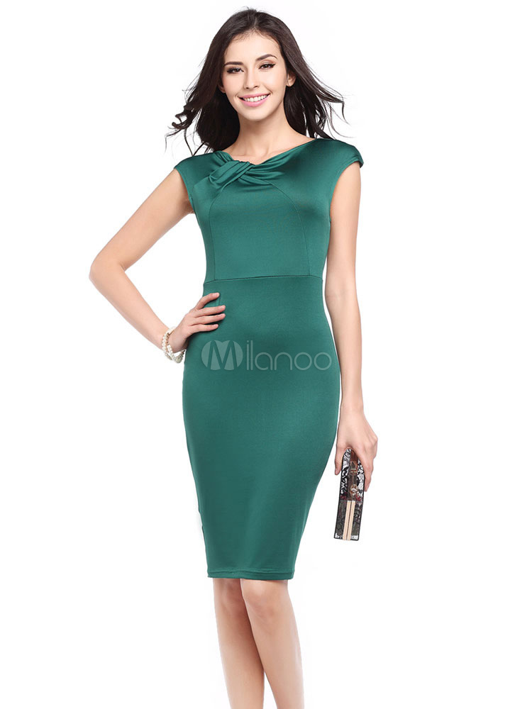 Buy Green Bodycon Dress Women's Pleated Round Neck Short Sleeve Slit Slim Fit Sheath Dress for $18.99 in Milanoo store