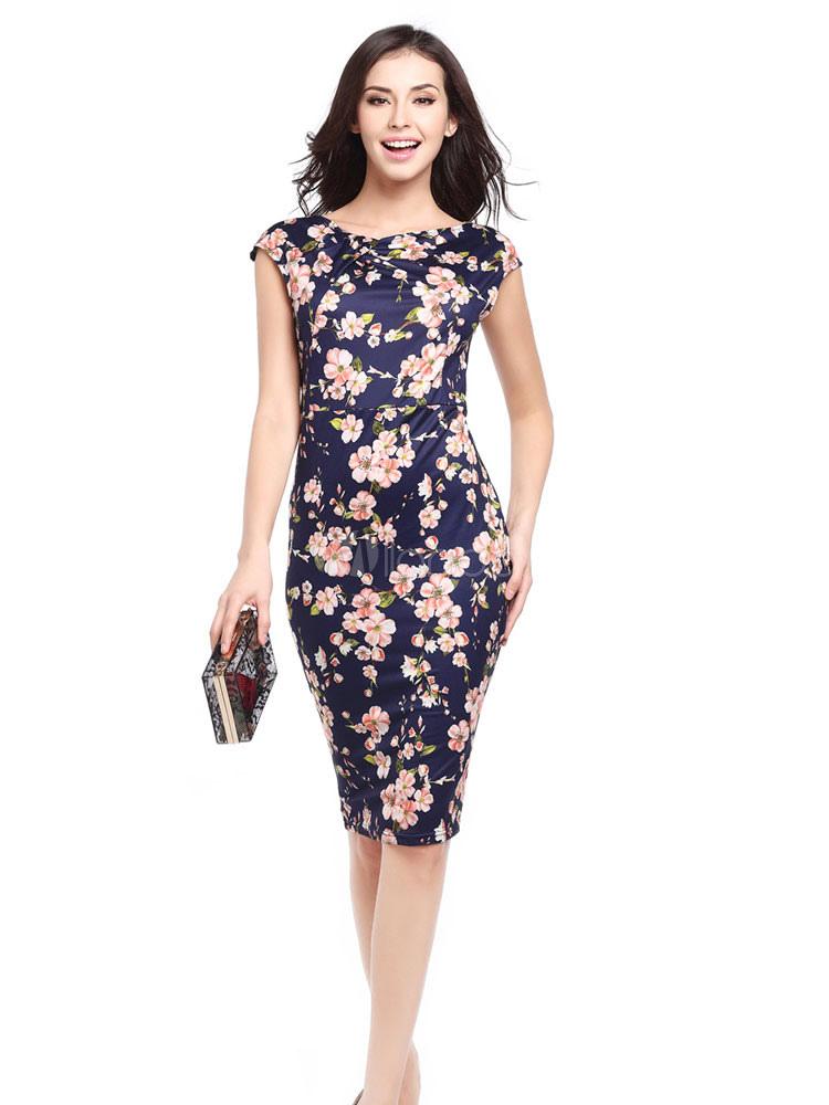 Women's Bodycon Dress Dark Navy Round Neck Short Sleeve Floral Printed Slim Fit Sheath Dress
