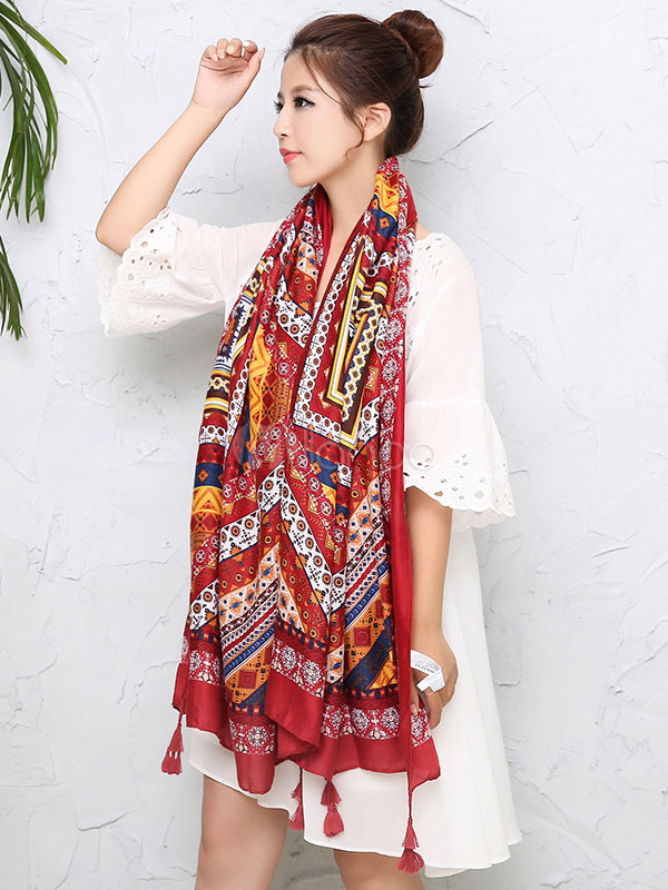 Bohemian Women's Scarf Printed Oblong Scarf With Tassels