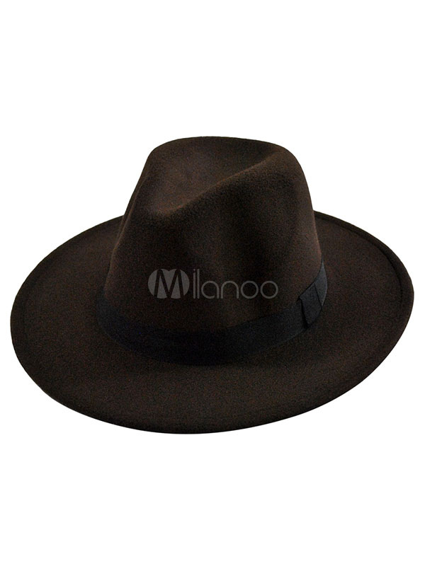 60db6561e5dd2 Black Fedora Hat Unisex Felt Hat With Wide Band - Milanoo.com