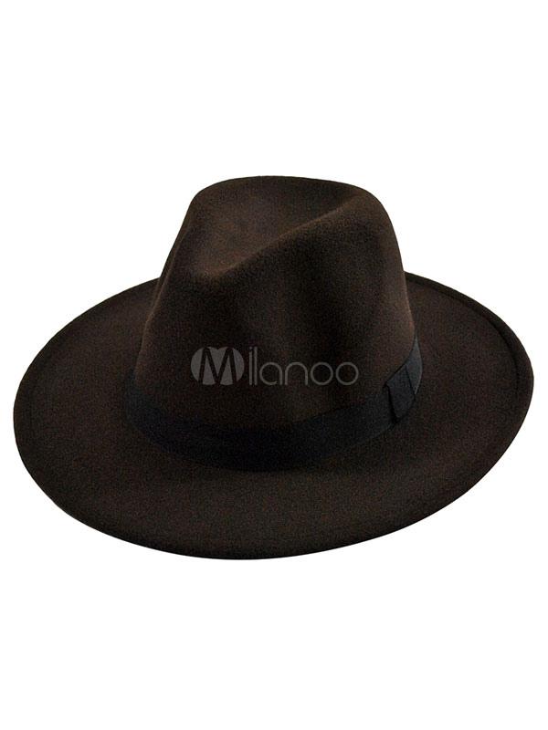 Black Fedora Hat Unisex Felt Hat With Wide Band Milanoo Com