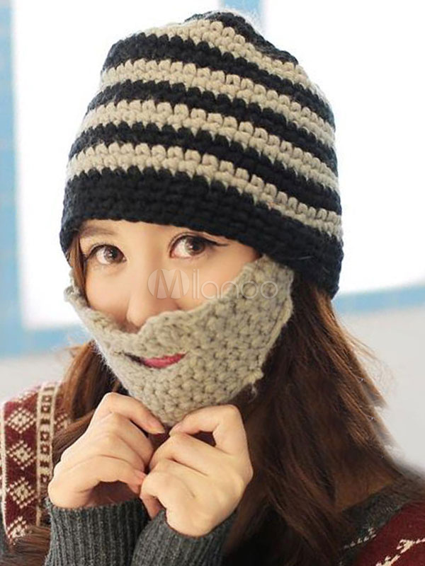 Women s Beanie Hat Orange Knit Beard Hat - Milanoo.com ee688bcc8